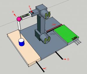 液位模块在机械臂上的安装图